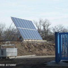 Alimentation solaire d'un pont pèse camion à l'entrée d'une decheterie