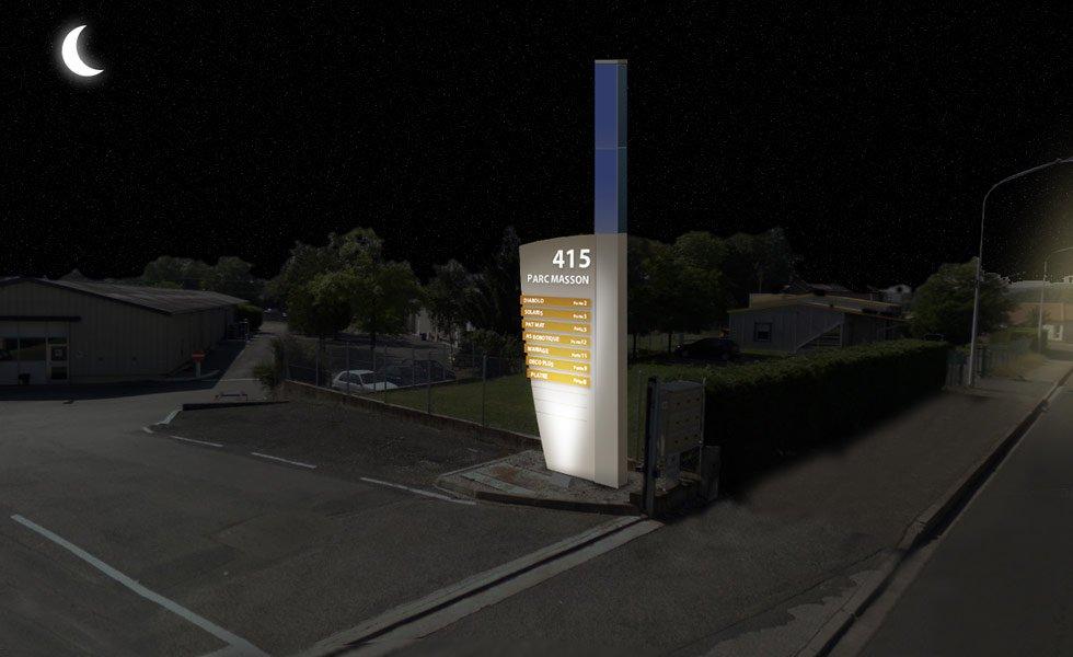 Totem d'entreprise XL 270, éclairage à énergie solaire