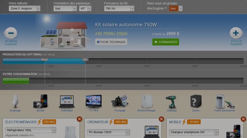 Simulateur de kit solaire
