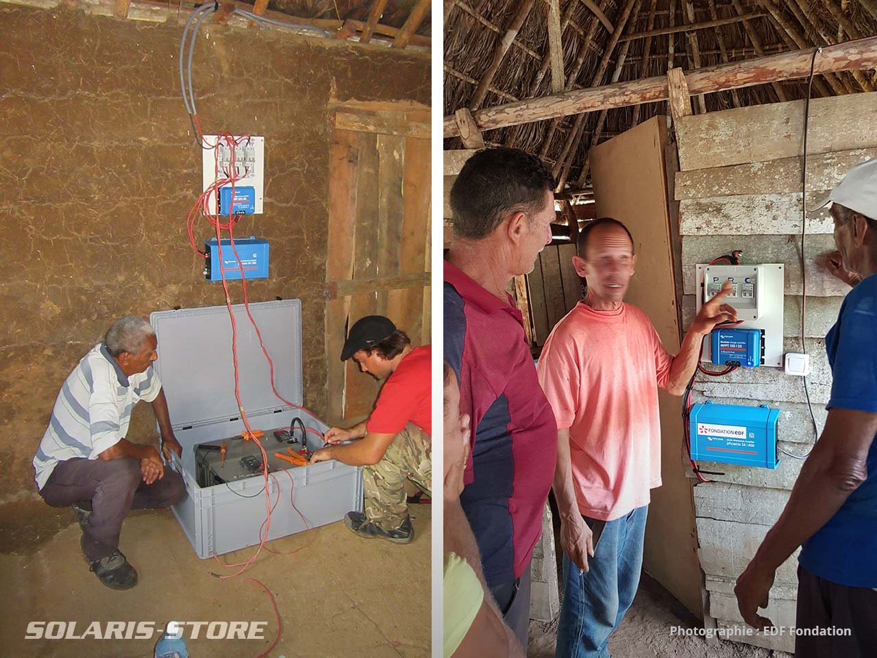 Branchement et raccordement des batteries solaires du kit, formation des personnels locaux