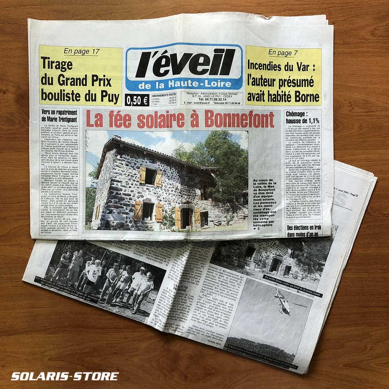 Journal l'éveil de la Haute Loire, installation solaire autonome au Mas de Bonnefont