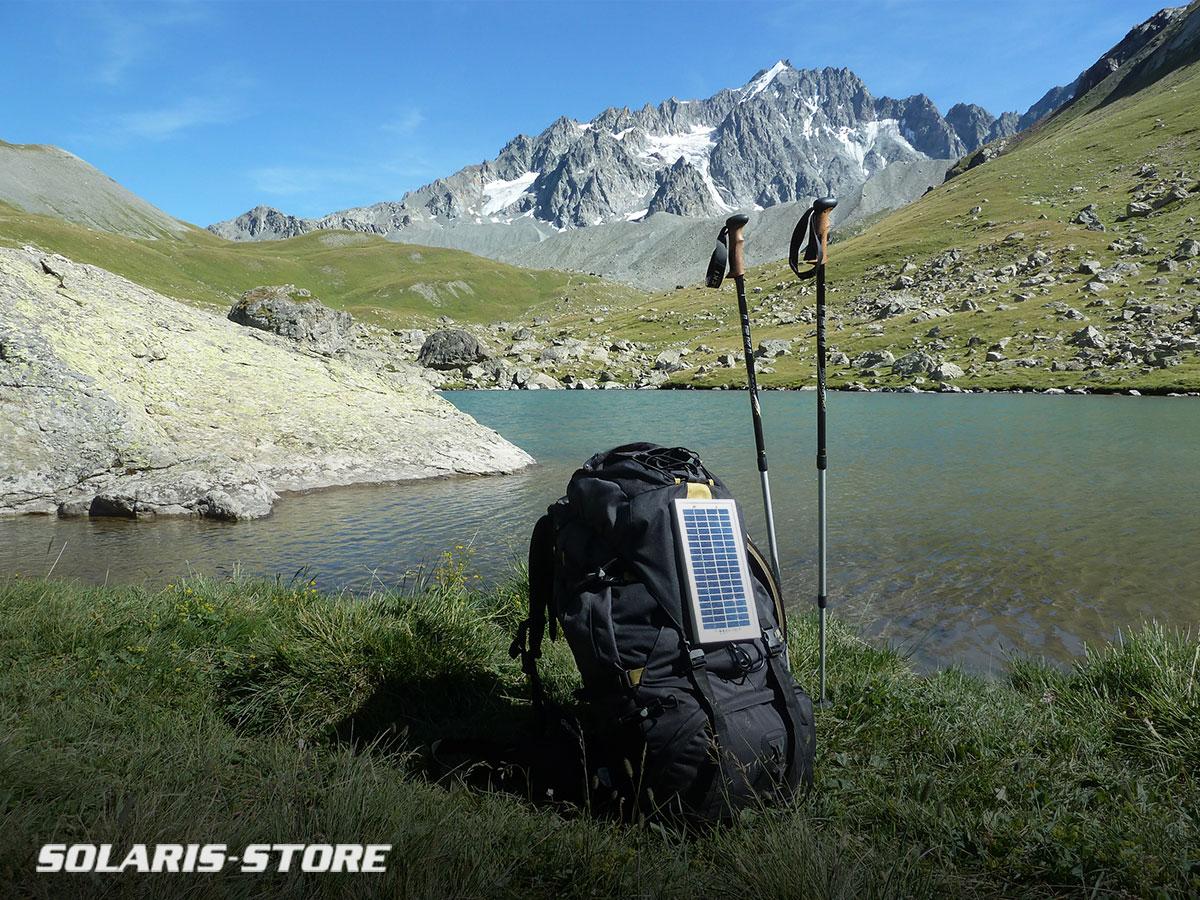 Kit solaire pour sac à dos et randonnée montagne