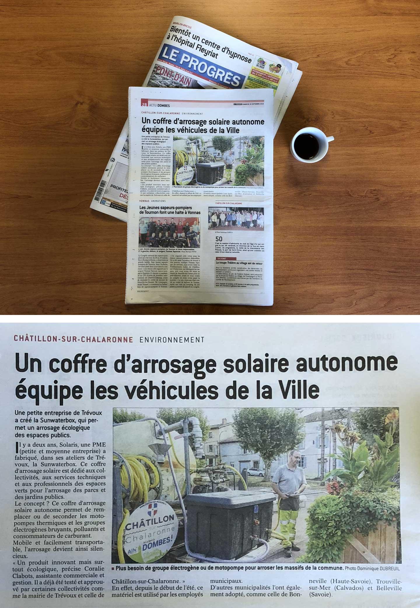 Parution Coffret pompage mairie dans le journal Le Progrès