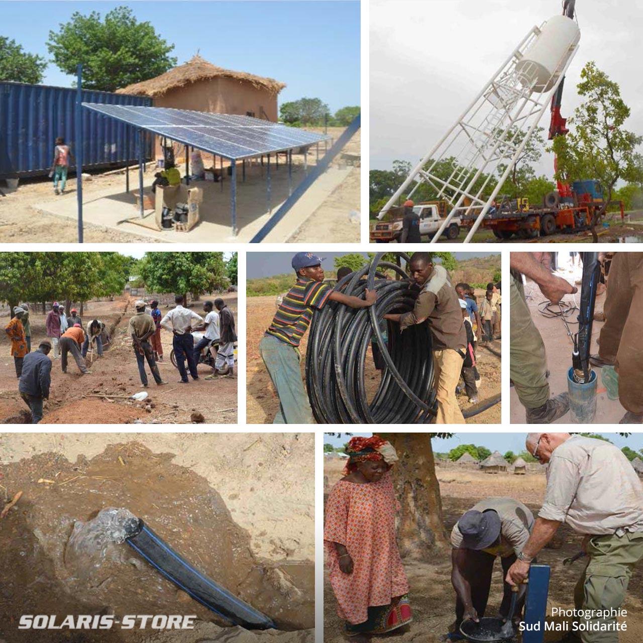 Projet humanitaire au Mali, construction d'une station de pompage solaire et adduction d'eau potable pour un village