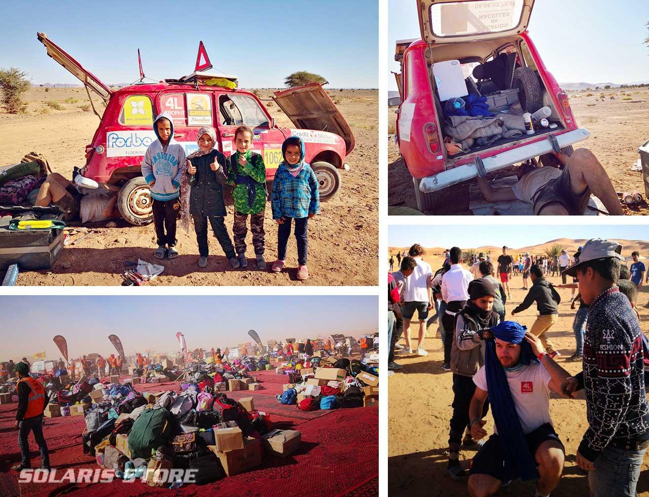 Avant d'arriver à Marrakech, les participants ont livré du matériel scolaire et des denrées alimentaires