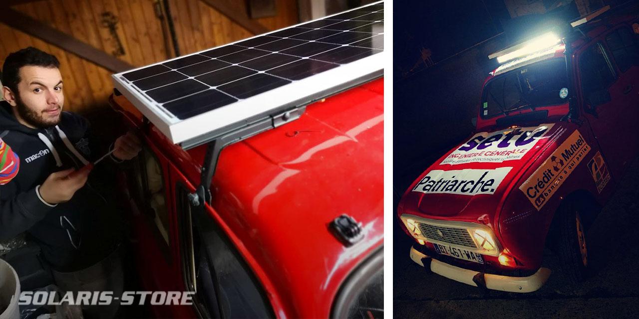 Installation et fixation du panneau solaire sur le toit de la voiture pour alimenter une rampe LED, téléphone, un frigo 12V...