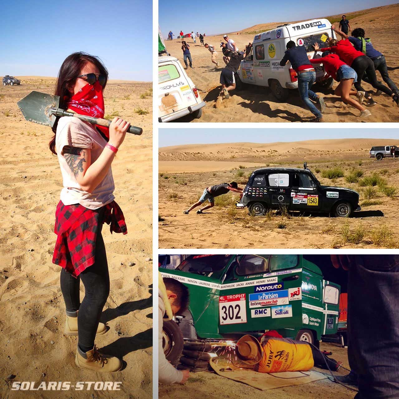 Bivouac au Maroc lors du Raid 4L Trophy. Le panneau solaire apporte de l'autonomie énergétique à l'équipe.