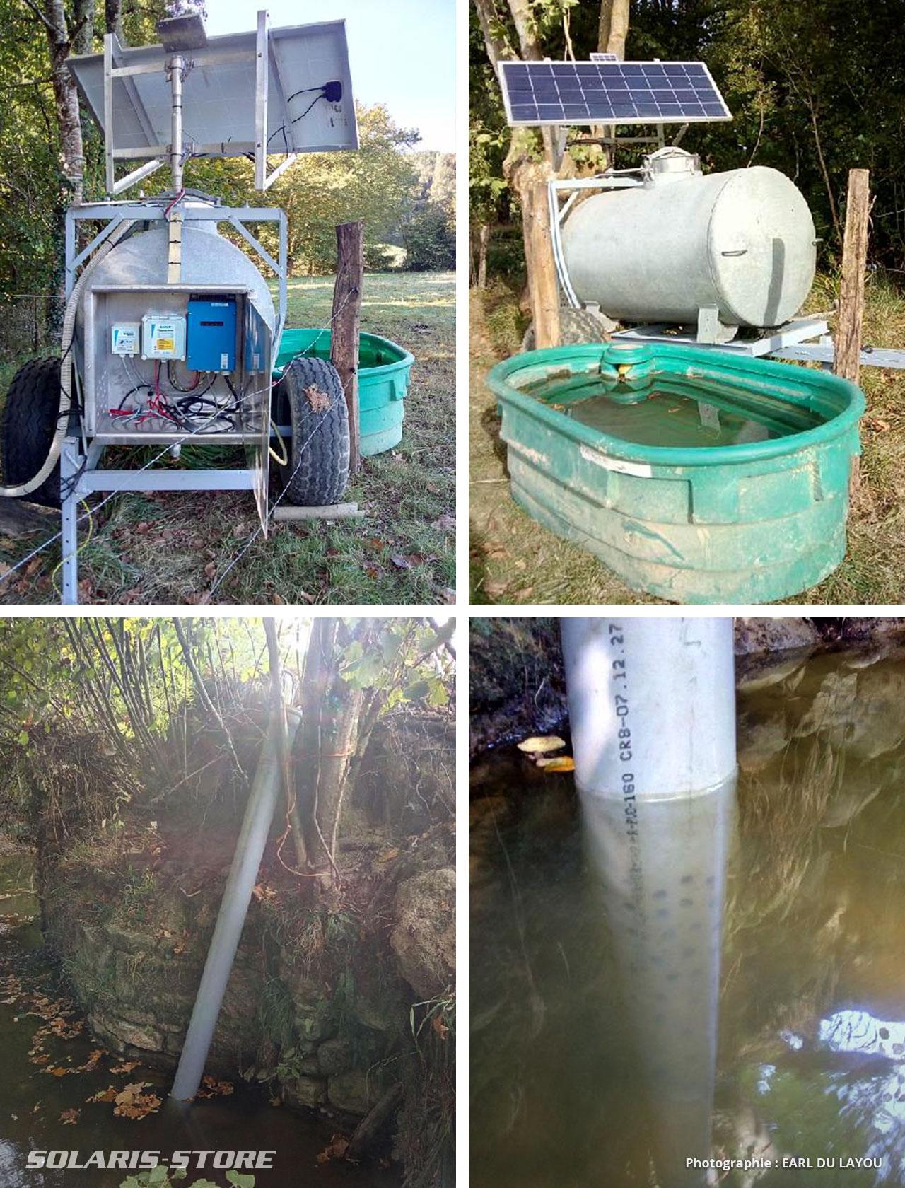 Pompage solaire dans une rivière pour remplir une cuve et un abreuvoir déporté pour le troupeau