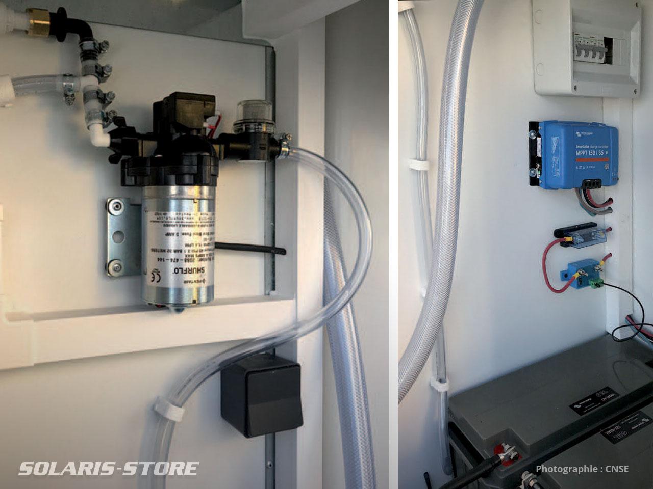 Remorque sanitaire mobile avec pompe solaire Shurflo, broyeur et éclairage en totale indépendance