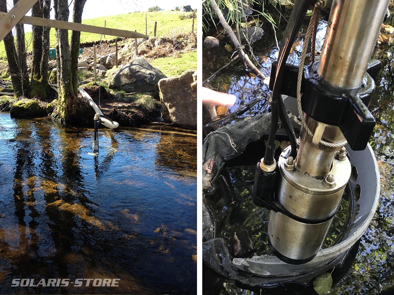 Pompe solaire pour éviter l'accès du bétail à une rivière ou un ruisseau