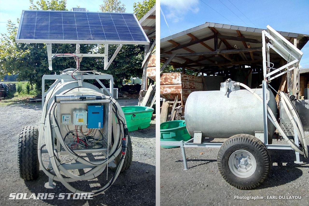 Remorque citerne agricole équipé de panneaux solaires pour alimenter en eau un troupeau