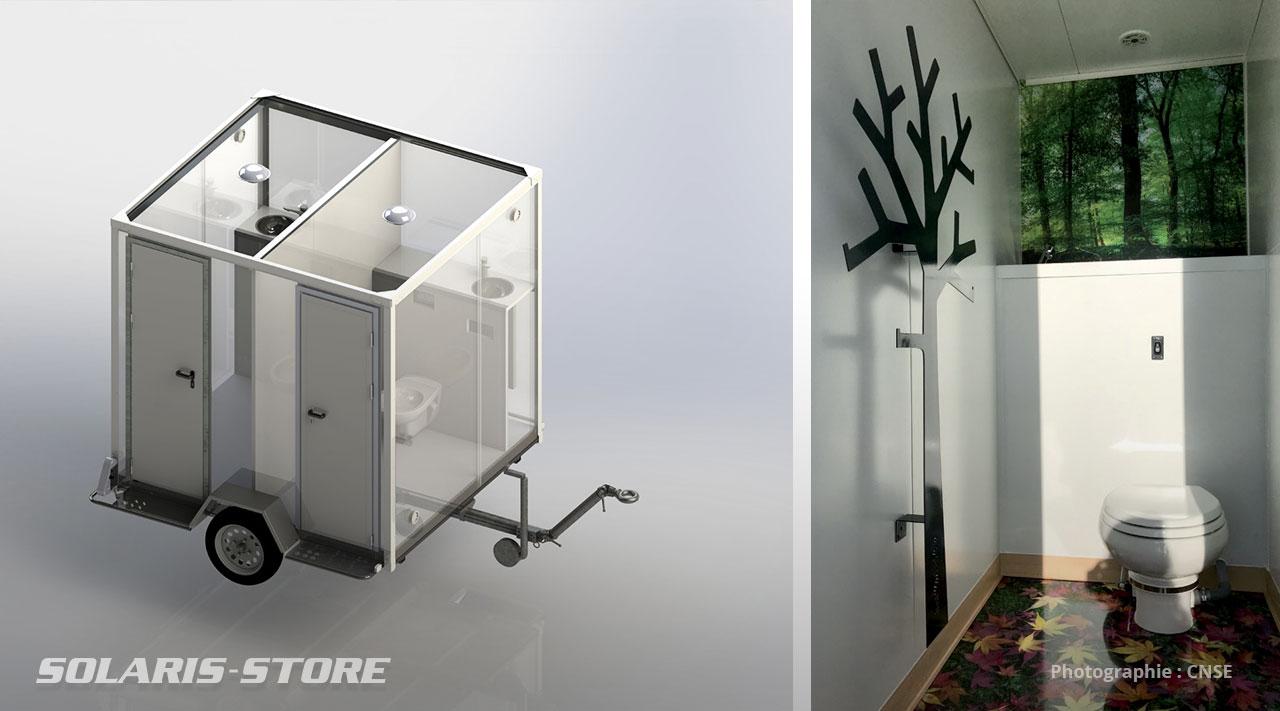 Design et aménagement de remorque sanitaire et base de vie mobile sur mesure pour chantier ou évènementiel