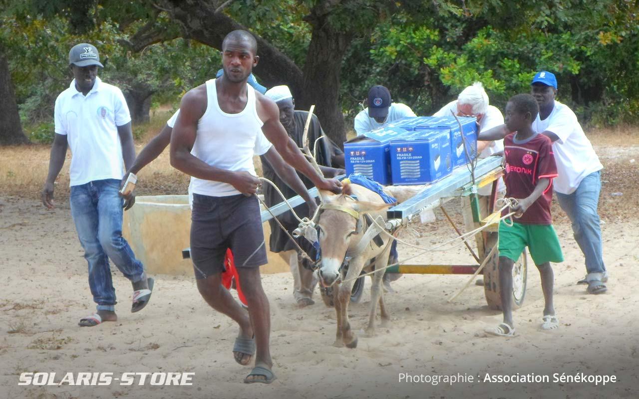 Acheminement des batteries solaires vers l'école à dos de mule